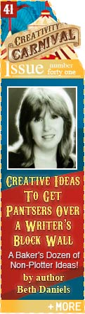 Creative Ideas To Get Pantsers Over A Writer's Block Wall - A Baker's Doxen of Non-Plotter Ideas - by author Beth Daniels